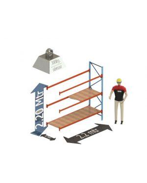 Grootvak Stelling aanbouw sectie  2,2 x 0,7 x 2,2 mtr. 3 niveau's 300kg. (per liggerpaar)