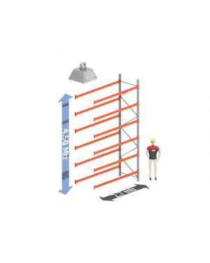 Aanbouw Sectie: Hoogte: 4.5 mtr. Diepte: 1.1 mtr. Breedte sectie : 2.7 mtr. Aantal niveau's: 6 Dragers 100x50 L=2.7mtr. Draagvermogen: 2.000Kg. (per liggerpaar)