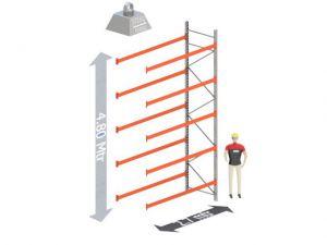 Aanbouw Sectie: Hoogte: 4,8 mtr. Diepte: 1.1 mtr. Breedte sectie : 2.7 mtr. Aantal niveau's: 5 Dragers 120x50 L=2.7mtr. Draagvermogen: 3.000 Kg. (per liggerpaar)