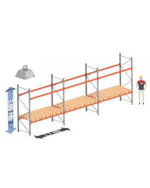 Palletstelling set: 3000 hoog 1100 diep en 8.4 mtr lang 2 niveau's (2.7 mtr./sectie)