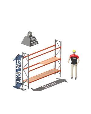 Grootvak Stelling start sectie  2,2 x 0,5 x 2,7 mtr. 3 niveau's 200kg. (per liggerpaar)