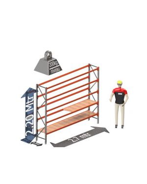 Grootvak Stelling start sectie  2,2 x 0,5 x 2,7 mtr. 5 niveau's 200kg. (per liggerpaar)