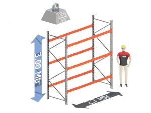 Start Sectie: Hoogte: 3.0 mtr. Diepte: 1.1 mtr. Breedte sectie : 2.7 mtr. Aantal niveau's: 3 Dragers 120x50 L=2.7mtr. Draagvermogen: 3.000 Kg. (per liggerpaar)