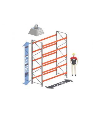Start Sectie: Hoogte: 3.5 mtr. Diepte: 1.1 mtr. Breedte sectie : 2.7 mtr. Aantal niveau's: 5 Dragers 100x50 L=2.7mtr. Draagvermogen: 2.000 Kg. (per liggerpaar)